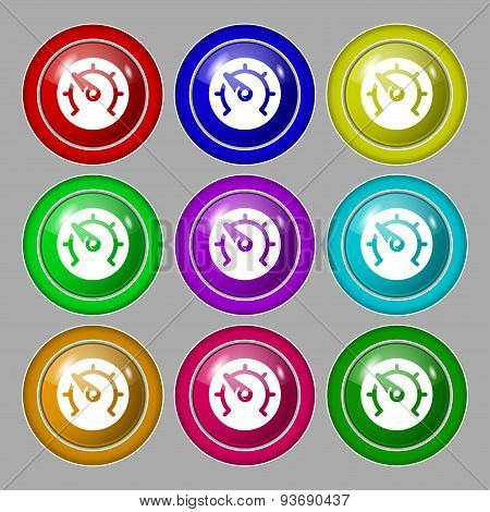 Speed, Speedometer Icon Sign. Symbol On Nine Round Colourful Buttons. Vector