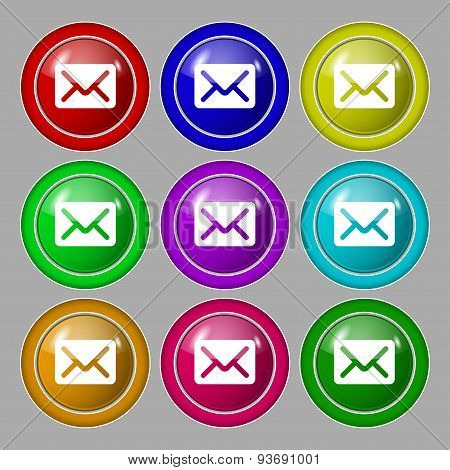 Mail, Envelope, Letter Icon Sign. Symbol On Nine Round Colourful Buttons. Vector