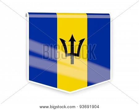 Flag Label Of Barbados