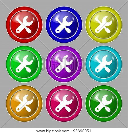 Screwdriver, Key, Settings Icon Sign. Symbol On Nine Round Colourful Buttons. Vector