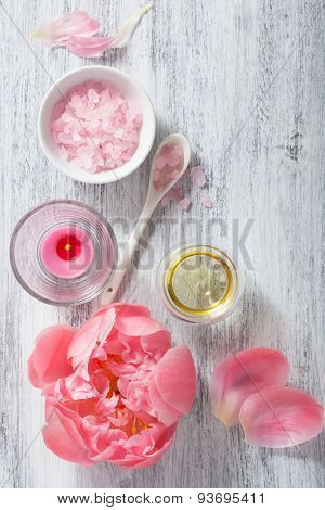 pink flower salt peony essential oil for spa and aromatherapy