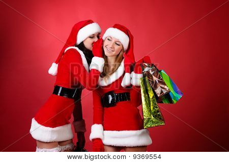 Wo Happy Young Santa Girl Talking