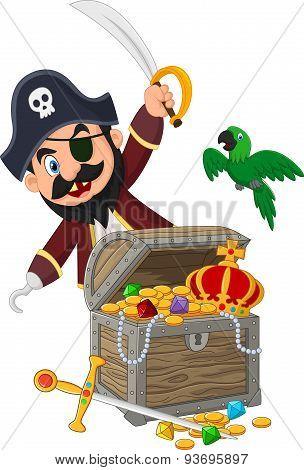 Cartoon pirate holding sword