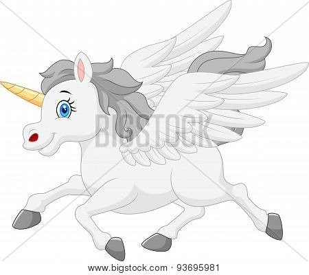 Cute running unicorn cartoon