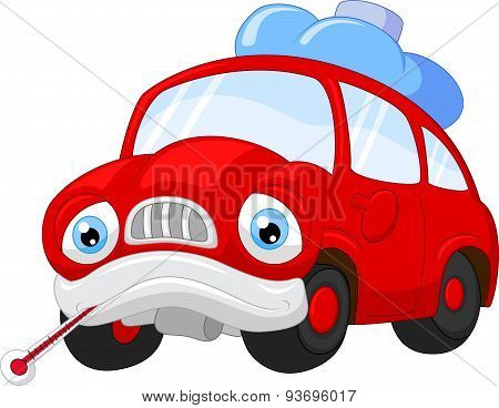 Cartoon car character needing repair