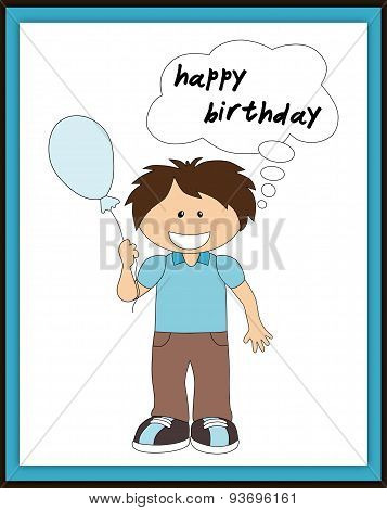 Happy Birthday Card With Smiling Boy, Balloon And Speech Bubble