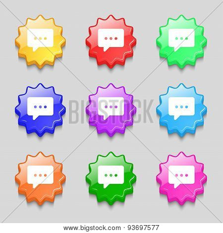 Cloud Of Thoughts Icon Sign. Symbol On Nine Wavy Colourful Buttons. Vector