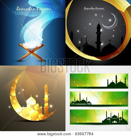 vector set of attractive background of ramadan kareem with banner illustration