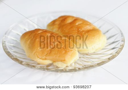 freshly baked soft bun on white background