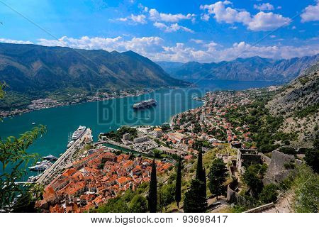 Looking Over The Bay Of Kotor In Montenegro With View Of Mountains, Cruise Ship