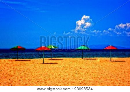Colorful Umbrellas On An Empty Beach Digitally Painted