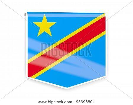 Flag Label Of Democratic Republic Of The Congo