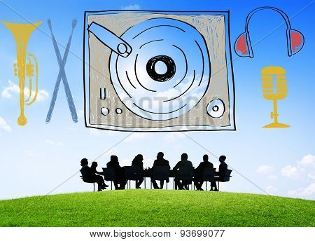 Music Multimedia Turntable Entertainment Concept