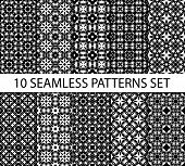 picture of ten  - Set of seamless patterns in celtic tradition contains ten unrepeatable ornaments with swatch for filling - JPG