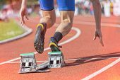 pic of sprinter  - Sprinter starts out of the blocks - JPG