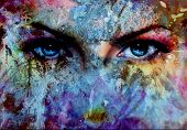 pic of face painting  - women eyes and painting color effect make up and eye contact - JPG