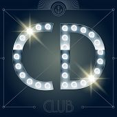 picture of letter d  - Futuristic vector lamp alphabet on glossy mirror background - JPG