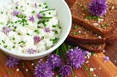 picture of chive  - Fresh rye bread with organic chives and cottage cheese selective focus - JPG