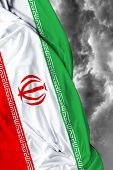 image of tehran  - Iranian waving flag on a bad day - JPG