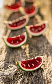 image of jello  - Red jello in lime shells looks like a watermelon - JPG