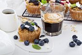 picture of oats  - Oat muffin with blueberries and coffee for breakfast - JPG