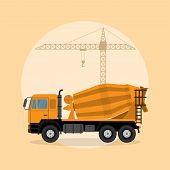picture of lift truck  - picture of a concrete mixer truck with lifting crane on background flat style illustration - JPG