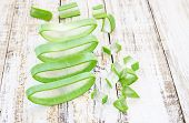 picture of aloe-vera  - Close up fresh aloe vera on wooden background - JPG