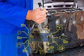 foto of car repair shop  - Male mechanic repairing car engine against auto repair shop - JPG