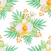 image of yellow orchid  - Watercolor seamless pattern with yellow orchids and green leaves - JPG