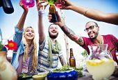 image of cheers  - Beach Cheers Celebration Friendship Summer Fun Dinner Concept - JPG