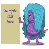 stock photo of snot  - Cute cartoon monster with a tablet for your text - JPG