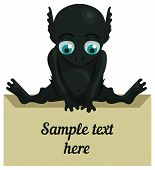 foto of gollum  - Cute cartoon monster with a tablet for your text - JPG