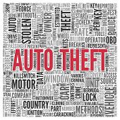 picture of theft  - Close up AUTO THEFT Text at the Center of Word Tag Cloud on White Background - JPG
