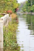 foto of flood  - Flooded street after heavy rain storms in Thailand - JPG