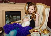 picture of alice wonderland  - Young girl at the image of Alice in Wonderland - JPG