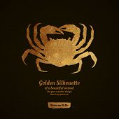 foto of crab  - Creative design with golden silhouette of a crab for card - JPG