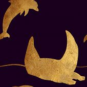 stock photo of scat  - Creative design with golden silhouettes of a whale and dolphin - JPG