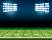 American Football Field With Stadium Lights poster