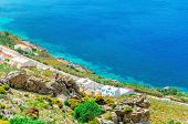 picture of greek  - Typical Greek houses on the coast - JPG