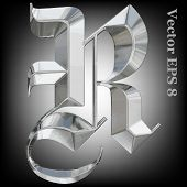 foto of gothic  - Vector letter R from metal gothic alphabet - JPG