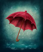 picture of rain-drop  - Red umbrella and rain drops - JPG