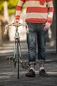 foto of moustache  - Handsome big moustache hipster man in the city - JPG