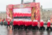 image of parade  - Parade on Red Square in Moscow blur background with bokeh effect - JPG
