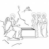 image of empty tomb  - scene of Mary Magdalene  became the first person to see Jesus after his resurrection - JPG