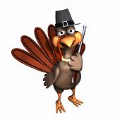 pic of musket  - turkey dressed as a pilgrim with pilgrim hat and musket.