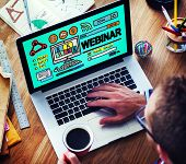 stock photo of seminar  - Webinar Online Seminar Global Conmmunications Concept - JPG