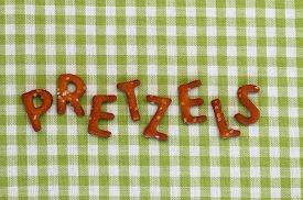 stock photo of pretzels  - Word pretzels written with pretzel - JPG