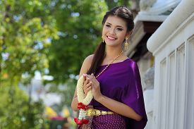 pic of national costume  - Thailand National Costume Asian woman wearing thai traditional dress - JPG