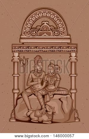 Vector design of Vintage statue of Indian Lord Shiva Parvati sculpture engraved on stone