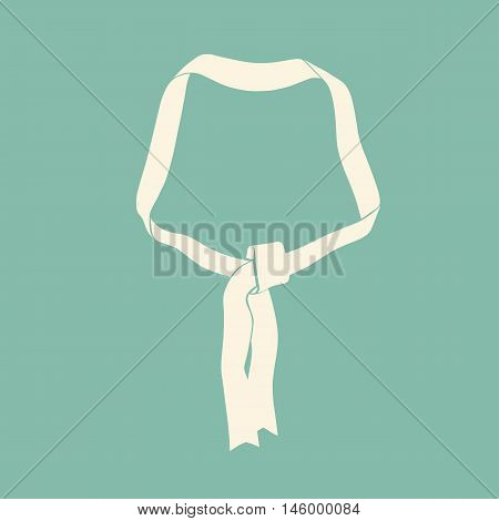 Vintage ivory flat abstract ribbon without text. Vector decorative element.